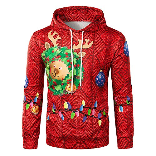 Christmas Sweater Herren UFODB Xmas Männer Kapuzenpullover Printed Kapuzenpullis Weihnachten Sweatjacke Hooded Weihnachtspullover Langarm Sport Winterpullover