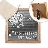 Letter Board Holz und Filz 25,4x25,4x2 cm, Famirosa Buchstabe Board Tafel Holz mit 340 weißer Buchstaben, Stecktafel mit Buchstaben Retro (Grau)