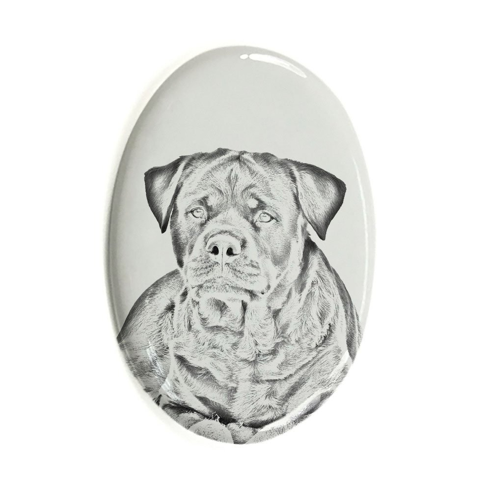 ArtDog Ltd. Rottweiler, oval gravestone from ceramic tile with an image of a dog