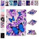 E-Mandala Universal 10 Zoll Hülle Etui Flip Case Leder Wallet Cover Tablet PC Tasche mit Kartenfach Klapphülle Ledertasche Lederhülle - Schmetterling Lila Blumen