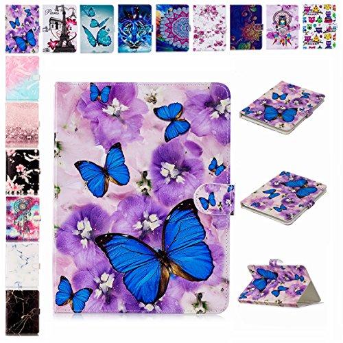E-Mandala Universal 7 Zoll Hülle Etui Flip Case Leder Wallet Cover Tablet PC Tasche mit Kartenfach Klapphülle Ledertasche Lederhülle - Schmetterling Lila Blumen