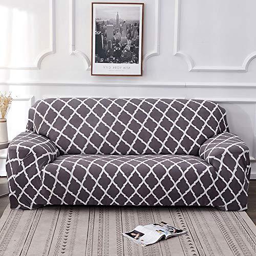 Housse de canapé Extensible 3 Places avec accoudoirs Tout Compris Polyester et Spandex Couverture Protege Fauteuil Impression Élastique Protecteur de Canapé (195-230cm)