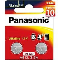 Panasonic Alkaline Coin Battery LR44, Pack of 10