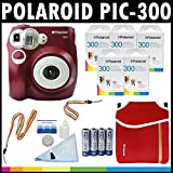 Polaroid PIC-300 Sofortbild-Analog-Kamera (rot) mit (5) Polaroid-300-Sofortbildfilm-Packungen à 10 + Polaroid-Neoprentasche + Polaroid-Reinigungsset + -Hals- & Handschlaufe + (4) AA-Batterien