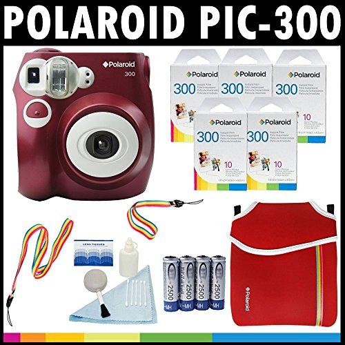 PolaroidFotocamera analogica con pellicola istantanea PIC-300 (Rosso) con (5) confezioni di pellicola...