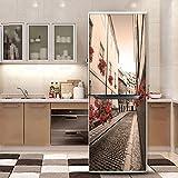HHYS Tür Kühlschrank Schrank Cover Aufkleber Für Kühlschrank Covering Full Door Wand Aufkleber Flur Wandbild Europäischen Stadt,60X180cm(23.6''X70.8'')