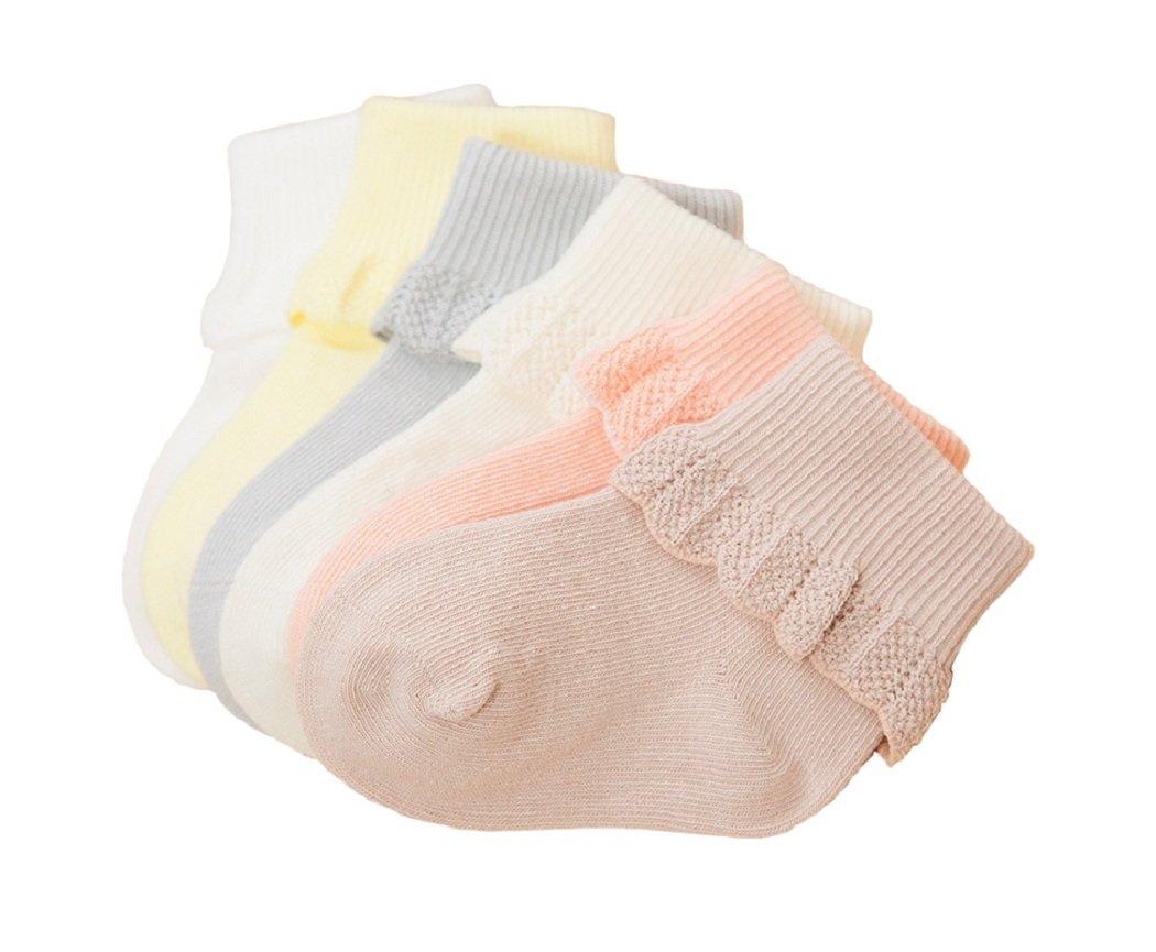 DEBAIJIA Calcetines Bebé Algodón Primavera Verano hoja loto Encaje Punto Cómodo Lindo Respirable - Pack de 6 Pares 1