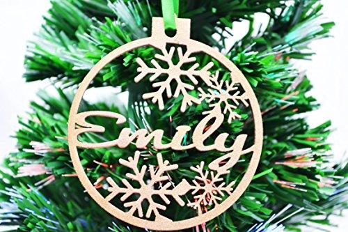 Palline di natale, per l'albero, in legno, personalizzabili glitter gold