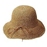 Cappello Donna Spiaggia - Dizoe Bombetta Estiva Cappelli di Paglia con l'arco d'epoca Vintage