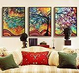 LA VIE 3 Teilig Wandbild Bunter Abstrakter Baum Ölbild Leinwanddrucke Dekoration Bilder Gemälde Moderne Kunstdruck für Zuhause Wohnzimmer Schlafzimmer Küche Hotel Büro 40x60 CM