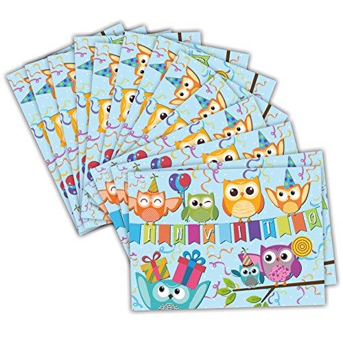 Gufi allegri Partycards Set di 12 inviti Compleanno Biglietti invito per Festa Compleanno per Bambini e Adulti in Italiano