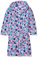 Playshoes Girl's Fleece Bathrobe Violets Dressing Gown, Multicoloured (Salmon), 6-12 Months (Manufacturer Size:74/80)
