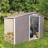 Concept-Usine Ventoux 3.53 m² : abri de jardin avec abri bûches en metal anti-corrosion gris