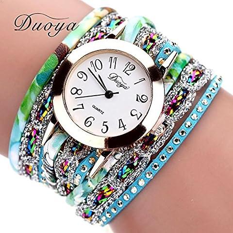 Zolimx Damen Flower Armbanduhr Uhren Frauen Blume beliebte Quartz Uhr Luxus Armband  (Blau)