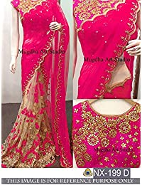 Nena Fashion Women's Georgette Saree With Blouse Piece (Nf-Diva- Red_Red)-1 (Pink)