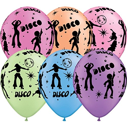 25 x 11 inch Disco Balloons - multi-coloured.