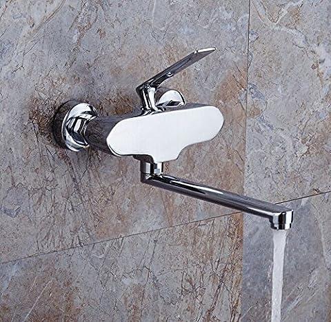 Montage mural UHM Mitigeur baignoire lavabo lavabo salle de bains Chrome Laiton Bec long