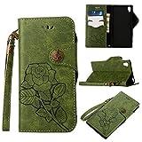 Sony Xperia Z5 Hülle Jahrgang Leder, Lomogo Schutzhülle Brieftasche mit Kartenfach Klappbar Magnetverschluss Stoßfest Kratzfest Handyhülle Case für Sony Xperia Z5 - LOGUH21264 Grün
