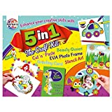 #8: RATNA'S 5 in 1 Craft KIT Combo for Kids(Greeting Card Making,EVA Photo Frame Making, Origami, Fun Stencils and Colouring Queens)