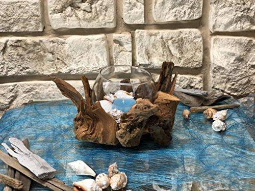 Tidschdeko Tischdekoration Nr.44 Tischgesteck Gesteck mediterran Muscheln mit Teelicht und Treibholz Sommer moderne Tischdeko Sommerdeko Sand (Mediterrane-kranz)