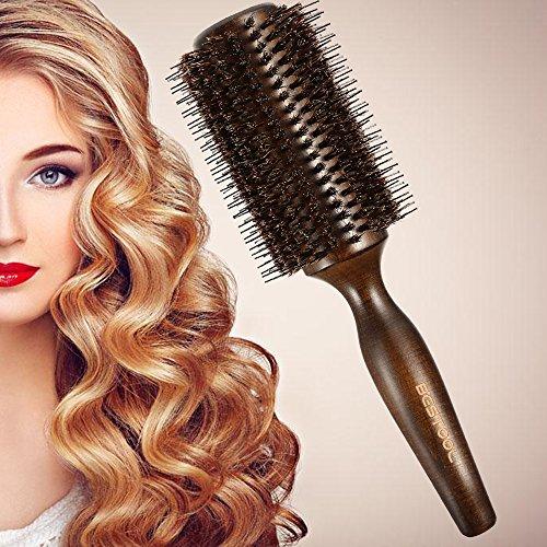 BESTOOL Haarbürste mit Wildschweinborsten und Nylon für Haar-Styling, Trocknen, Curling, Hinzufügen von Haar Volumen und Glanz (Rundbürste - Kopfhaut öl Massieren