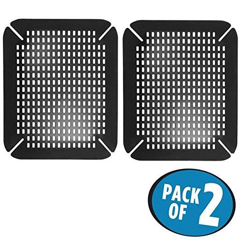 mDesign fond d'évier (lot de 2) – tapis d'évier en silicone pratique et réglable – tapis rembourré pour évier ou utilisable comme tapis vaisselle pour protection optimale – noir
