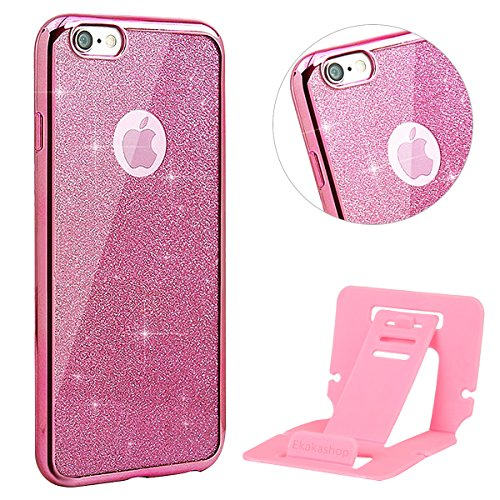 iPhone 7 Hülle Glitzer,Bling Hülle Case für iPhone 7,Ekakashop Luxus Rosa Chrom Funkelnsternen Sparkle TPU Silikon Defender Protective Schutzhülle Rückseite Schale Praktisch Back Case Cover mit Finger Rosa Chrom