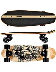 FunTomia® Skateboard Monopatín con rodamientos ABEC-11 y rodillos de dureza 100A - hecho con 7 capas de madera 100% arce canadiense o bambú (bandido / sin ruedas LED / 7 capas de arce canadiense)