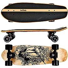 FunTomia® Skateboard 66cm - 7ply strati di acero canadese o bambù - Con o senza ruote a LED (Bandito / senza ruote LED / 7 strati di acero