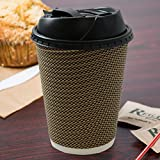 Disposable Insulated Ripple Coffee Tea Paper Hot Cups with Recloseable Lids 12oz. 350ml Pack of 20
