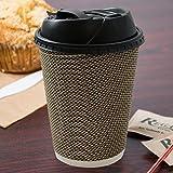 Bicchiere di carta usa e getta ad isolamento termico, per caffè e tè caldo, con increspatura sul bordo e coperchio richiudibile, capienza: 350 ml, confezione da 20 pezzi -