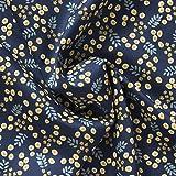 MIRABLAU DESIGN Stoffverkauf Baumwollsatin Blumenmuster in gelb und weiß auf dunkelblauem Grund (4-208M), 0,5m
