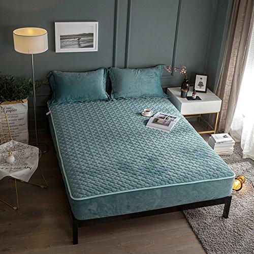 59 Dunkelgrün (DW&HX Flanell bettwäsche,Verdickte flanell einzigen bettdecken matratze bett abdeckung volltonfarbe tagesdecke für 5-25cm matratzen-dunkelgrün 150x200cm(59x79inch))