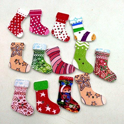 P Prettyia 50 Stück Weihnachten Strumpf Holzknöpfe Dekoknöpfe Knöpfe Kinderknöpfe Nähen Scrapbooking Handwerk -