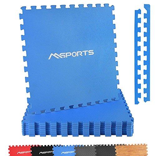 Bodenschutzmatten Set Premium - 8 Schutzmatten in verschiedenen Farben 3,175m²   Bodenschutz 60x60 cm   Stärke: 1,0 cm   Puzzlematten Gymnastikmatte (Blau)