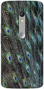 Snoogg Peacock Feathers Picture Designer Protective Back Case Cover For Motorola Moto X Play