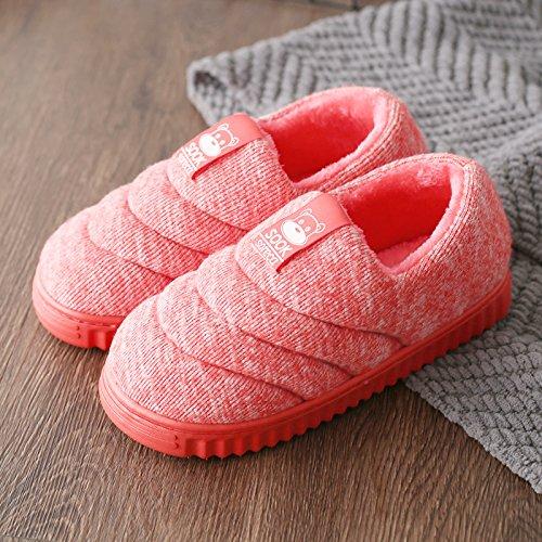 DogHaccd pantofole,Autunno Inverno pacchetto con il cotone pantofole indoor gli uomini e le donne a rimanere a casa un paio extra spessa, antiscivolo caldo inverno scarpe di cotone Il rosso1