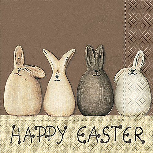 20 Servietten Happy Easter Bunnies – Happy Easter Hasen / Ostern / Frühling 33x33cm