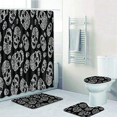 RedBeans 4-teiliges Badezimmer-Set, Vintage-Retro-Totenkopf-Motiv, wasserdicht, Duschvorhang, Anti-Rutsch-Vorleger, WC-Deckelbezug und Badematte