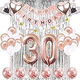 Skaine 30. Geburtstag Dekorationen Banner Ballon Geburtstag Dekorationen Nummer 30 Partyartikel Geschenke für Frauen Ballons Nummer 30 Rose Gold, Rose Gold Konfetti Luftballons