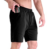 Hoyollon Men's Gym Running Shorts,Breathable Workout Training Sports Shorts with Hidden Zip Pockets