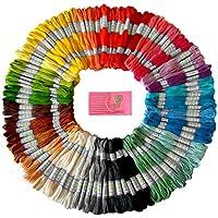 Premium arcobaleno colori ricamo, punto croce Fili–Braccialetti dell' amicizia Floss–Crafts Floss–105matassine per confezione e set gratuito di alta qualità Ricamo aghi