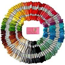 Hilo para bordado multicolor premium - Hilo para punto cruz - Hilo para pulseras de la amistad - Hilo para manualidades - 105 madejas por paquete - Conjunto gratis de agujas de bordado de alta calidad