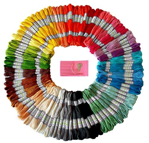 Premium arcobaleno colore filo da ricamo–punto croce fili–braccialetti dell' amicizia floss–crafts–filo interdentale–105matasse per ricamo di alta qualità e set di aghi