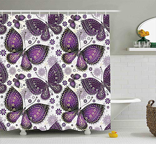 Curtain, Ethnic Asian Butterflies with Paisley Motif on Wings Flowers Art Print, Fabric Bathroom Decor Set with Hooks, 72x72 inches, Purple White ()
