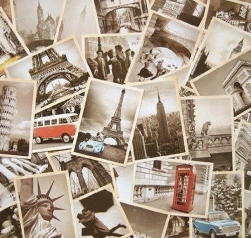 Lystaii 32 stücke 1 Satz Vintage Reise Postkarten Retro Alte Postkarte Weltberühmte Gebäude Sammeln Geschenk