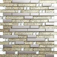 Art Deco acero Tira larga inoxidable mosaico 300*300mm Cocina backsplash / ducha de pared de la pared de la pared / Hotel pasillo pared de la frontera / piso residencial de piso y aplicaciones de la pared SA047-26 (1 pieza)