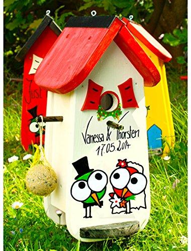 Vogelhaus Hochzeit, Vogelhochzeit, Vogelvilla, Hochzeitsgeschenk,Vogelhaus mit Beschriftung - 2