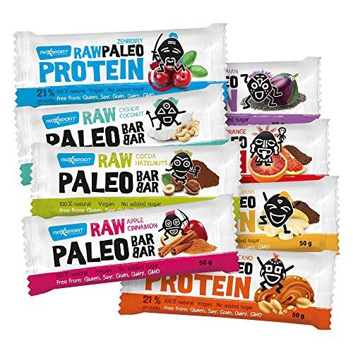 maxsport Nutrition brut paleó rohkost Verrou tous les types de 8x 50g-Brut paleó Barres protéinées (végétalien sans gluten rohkost Barres énergétiques