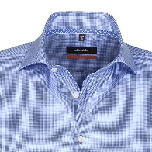 SEIDENSTICKER Herren Hemd Slim 1/1-Arm Bügelfrei Karo City-Hemd Kent-Kragen Kombimanschette weitenverstellbar blau (0015)